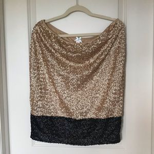 Gold and black sequin pencil skirt